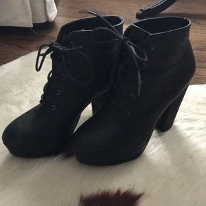 Madden Girl Leather Heeled Booties